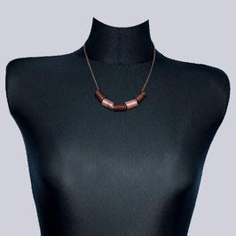 Samt-Halskette Jea Maike, braun/rosegoldfarben