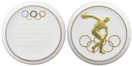 GDR white Porcelain Medal awarded by the Society for the development of the Olympic Idea in the GDR