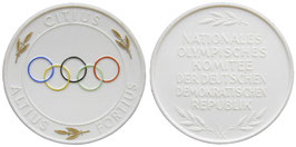 German Democratic Republic White Porcelainmedal commemorating the NOC