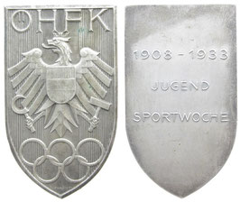 Austria 1933 Plaque of the austrian Sports-Associantion commemorating the Youth-Sportsweek