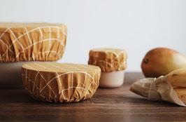 Haps Nordic | 3er Set Wiederverwendbare Stoffdeckel Mustard