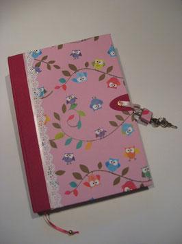 """Abschließbares Tagebuch Notizbuch Skizzenbuch  """"Eulen"""""""