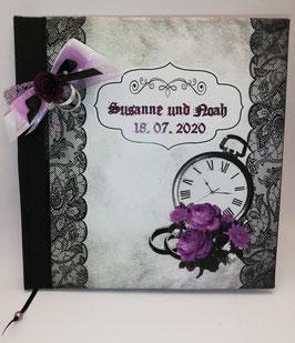 """Gothic-Hochzeit Gästebuch """"Steampunk"""" Lila"""