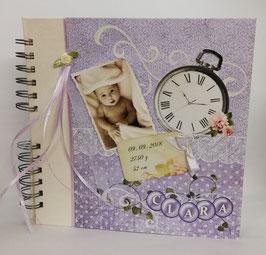 Gästebuch Baby Vintage Flieder