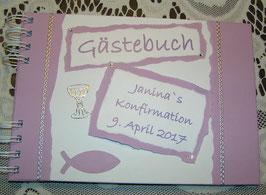 Gästebuch Konfirmation Erinnerungsalbum Flieder