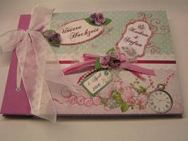 """Gästebuch oder Fotoalbum für die Hochzeit """"Vintage Roses pink"""""""