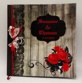 """Gothic-Hochzeit Gästebuch """"Wooden"""""""