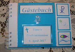 Gästebuch Erstkommunion Erinnerungsbuch Azurblau