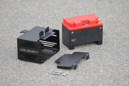 "SCHIZZO® BATTERY BOX ""HIDE AWAY"" STAINLESS STEEL, BLACK POWDER-COATED FINISH, INCLUDING LITHIUM-ION BATTERY"