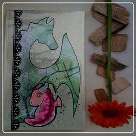 Skizzen/Conhon Drache grün/pink