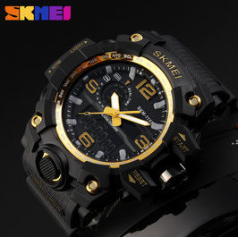 SKMEI - 1155, Big Size, Military, 5 ATM, gold, S-Shok