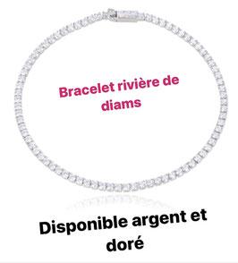 BRACELET RIVIÈRES DE DIAMS DORÉ OU ARGENT AU CHOIX