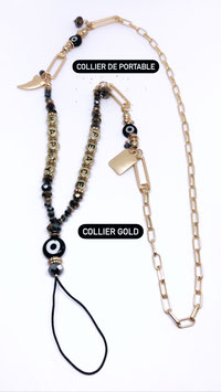 COLLIER BIJOU POUR PORTABLE MAILLONS OR CHARMS