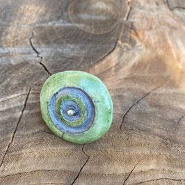 Ring, Grün mit Silberperle