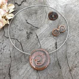 Set, Braun, Spirale mit Silberperle
