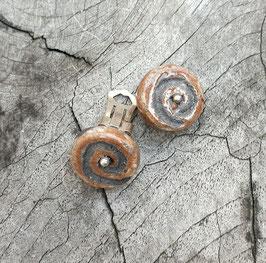 Ohrclips, Braun, Spirale mit Silberperle