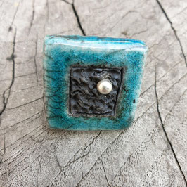 Ring, Türkis mit Silberperle