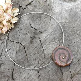 Kette, Braun, Spirale mit Silberperle