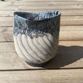 Vase, schwarz/weiß/blau
