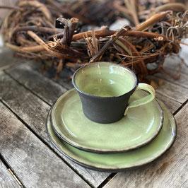 Geschirrset, schwarz-grün