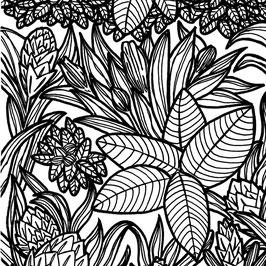 Luminaire goutte motif Végétal coton sérigraphié