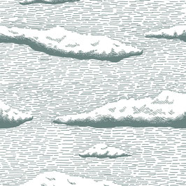 Luminaire goutte motif nuage coton sérigraphié