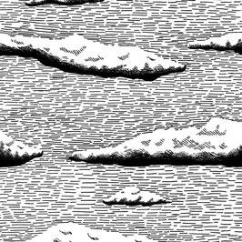 Luminaire ovale motif nuage coton sérigraphié