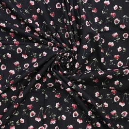 Lin noir imprimé petites roses