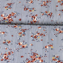Viscose Flower stripe