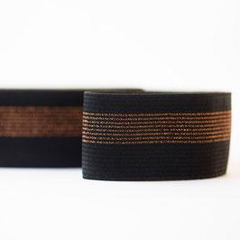 Ceinture élastique - Noir avec lignes en cuivre