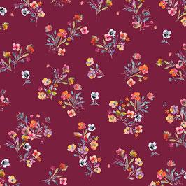 Popeline de coton fleurie - Cerise