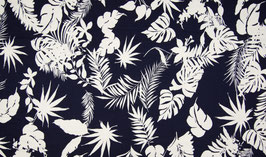 Jersey Tropical Flowers - Navy