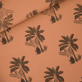 Jersey bouclette Palm Trees Pecan Brown