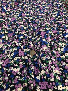 Lin bleu marine petites fleurs