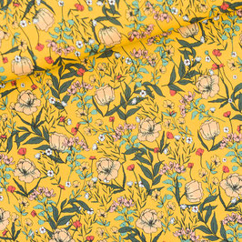Lycra Summer Flowers Yolk Yellow