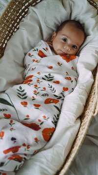 Swaddle Musselintuch Mohnblume