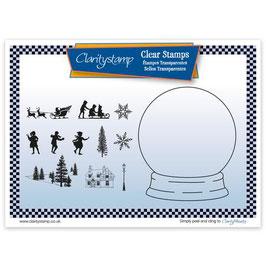 CLARITY STAMP - SNOW GLOBE OUTLINE AND MASK CLEAR STAMP SET