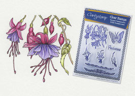 JAYNE NESTORENKO FLORAL COLLECTION - FUCHSIAS UNMOUNTED CLEAR STAMPS A5