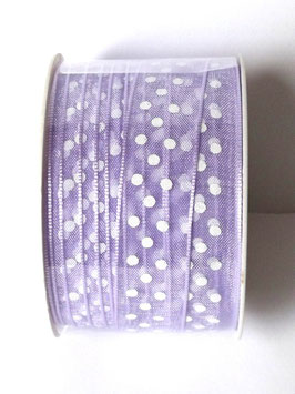 15mm ORGANZA RIBBON - LAVENDER WITH WHITE DOTS
