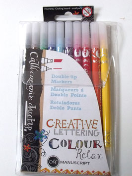 MANUSCRIPT DOUBLE TIP CALLIGRAPHY MARKERS (PACK OF 10)