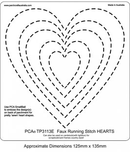 PCA EASY EMBOSSING TEMPLATE - FAUX RUNNING STITCH HEARTS
