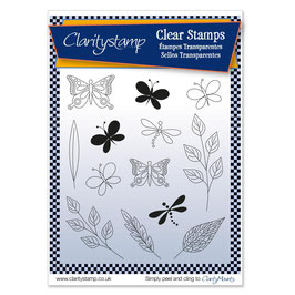 CLARITY STAMP  TINA'S BUTTERFLIES AND DRAGONFLIES +MASK UNMOUNTED CLEAR STAMP SET