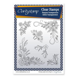 CLARITYSTAMP - TINA'S FLORAL SWIRLS AND CORNERS 2 - UNMOUNTED CLEAR STAMP SET