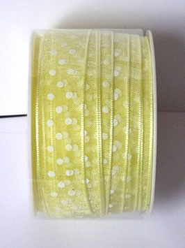 15mm ORGANZA RIBBON - LEMON WITH WHITE DOTS