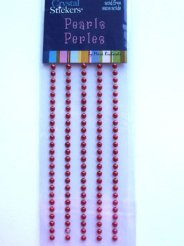 RED SELF ADHESIVE PEARLS - 3mm