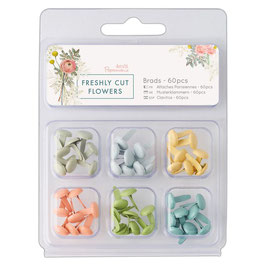 PAPERMANIA  9MM BRADS  60 PCS  - 'FRESHLY CUT FLOWERS'
