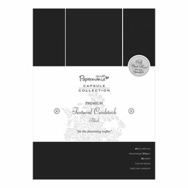 PAPERMANIA A4 PREMIUM CARDSTOCK TEXTURED BLACK (20 sheets)