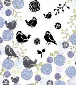 MAJESTIX PEG STAMPS - BULLFINCHES AND BLOOMS