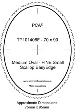 PCA TEMPLATE GUIDE FOR A SCALLOP EDGE MEDIUM OVAL (USE FINE SMALL SCALLOP TOOL)