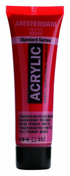 AMSTERDAM ACRYLICS 20ML - TRANSPARENT RED MIDDLE